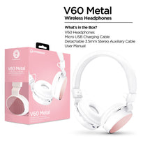 V60 Metal Wireless Headphones - White/Pink