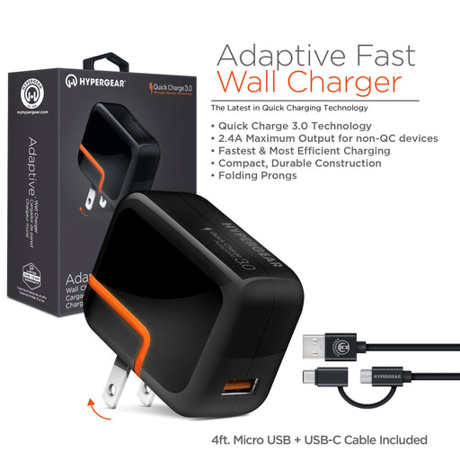 HyperGear Adaptive Fast Wall Charger with 4ft USB-C Cable