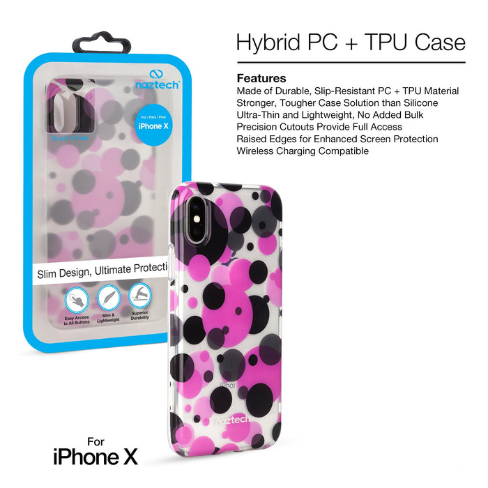 Naztech Polka Dot Hybrid PC + TPU Case -iPhone X
