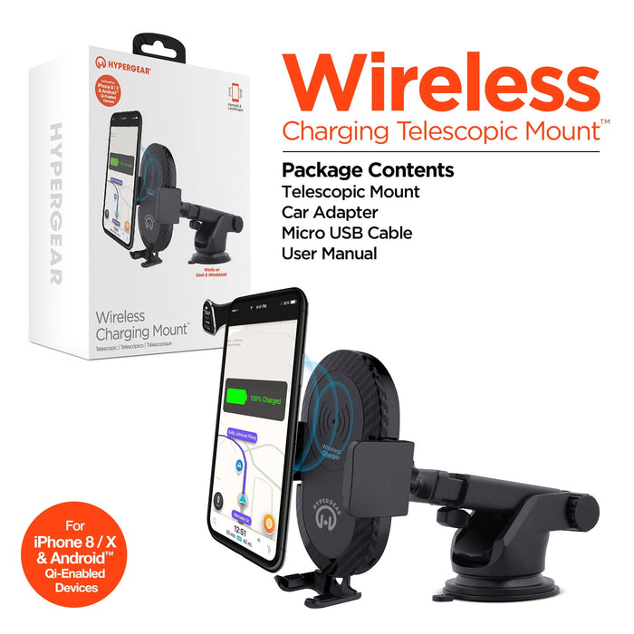 HyperGear Wireless Charging 5W Telescopic Mount