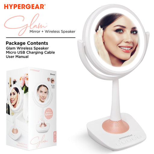 HyperGear Glam Rechargeable LED Mirror + Wireless Speaker [PRE-SALE]