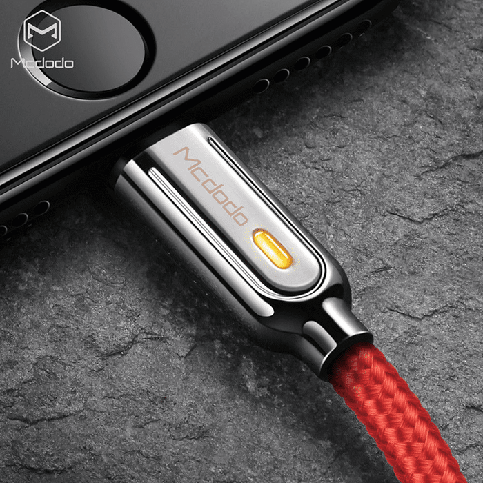MCDODO SLEEK V3 Lightning Auto Recharge Cable - 6ft Red/Black