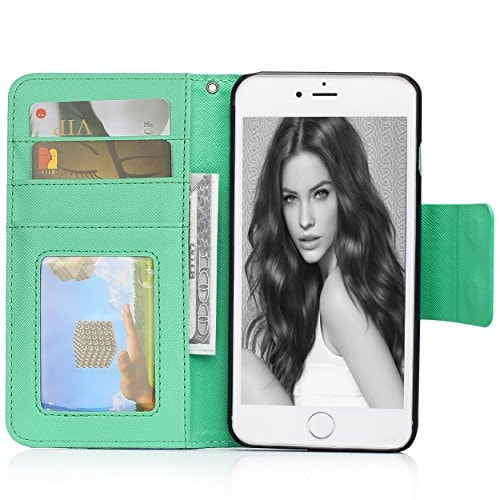 Birdz Leather Wallet Case Credit Card Holder & Flip Cover iPhone 6/6S/Plus