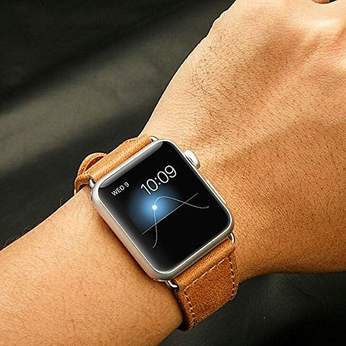 Genuine Apple Watch Leather Strap with Metal Clasp - Brown