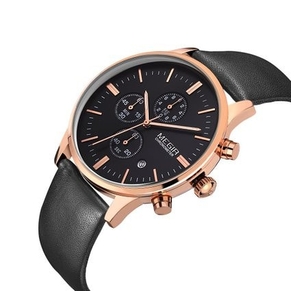 Men's Casual Wrist Watch Gold Black Chronograph Leather Black