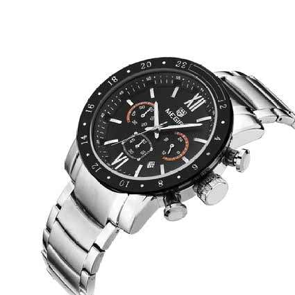 Mens Watches Classic Stainless Steel Wristwatch Chronograph 3ATM Waterproof Black Dial Mens Watches Silver