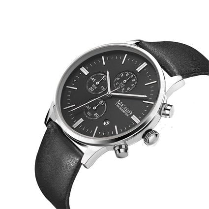 Men's Casual Watch Silver Black Chronograph