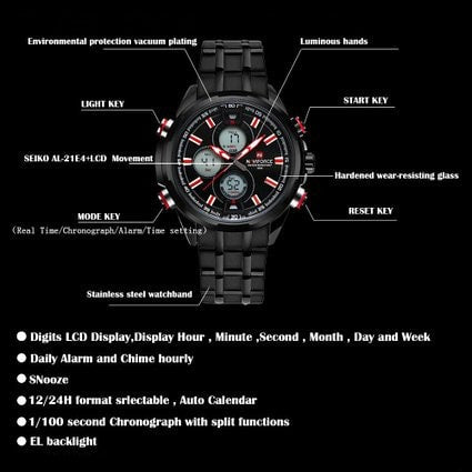 Men's Watches Multi-function Military Sports Watches Waterproof Stainless Steel Black Red