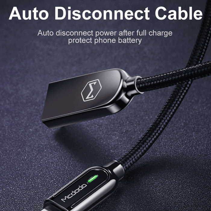 MCDODO SLEEK V3 Lightning Auto Recharge Cable -4ft w/ Free Turbo Car Charger