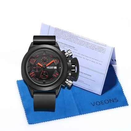 Mens Watches 3ATM Waterproof Chronograph Sports Watches Wristwatches Black 2002