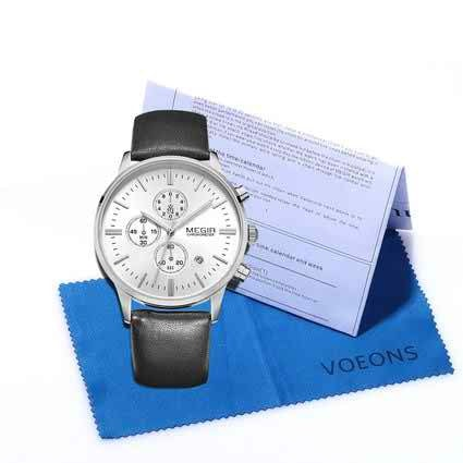 Elegant Men's Casual Wrist Watch Silver White Chronograph with Leather Black