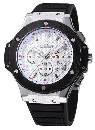 Men's Chronograph Military Sports Watches 3ATM Waterproof White Stainless Steel Mens