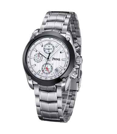Men's Silver Steel Casual Watch with Calendar and Chronograph 6123
