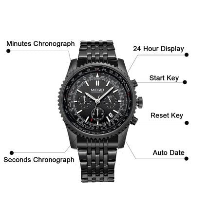 Mens Watches Chronograph 24 Hour Military Sports Watches 3ATM Waterproof Black Stainless Steel Wristwatch
