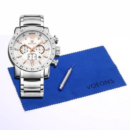 Mens Watches Stainless Steel Wristwatch Chronograph 3ATM Waterproof Mens Watches Silver