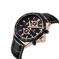 Mens Watches Chronograph Auto Date 1/10 Second Sports Watches 3ATM Waterproof Leather Wristwatch Black