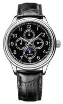 Men's Black Leather Automatic Self-wind Luxury Watch with Moon Phase EFL8843L