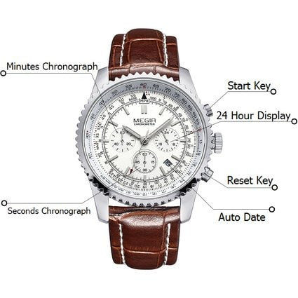 Mens Watches Chronograph 24 Hour Military Sports Watches 3ATM Waterproof Silver Stainless Steel Wristwatch