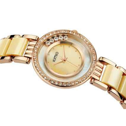 Voeons Women's Gold Watch Japan Quartz Movement Fashion Bracelet Watch K485M