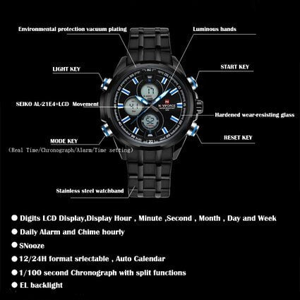 Men's Watches Quartz Digital Sports Watches 3ATM Waterproof Stainless Steel Black Blue