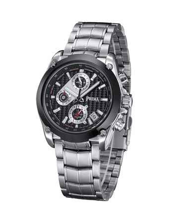 Men's Black Steel Casual Watch with Calendar and Chronograph