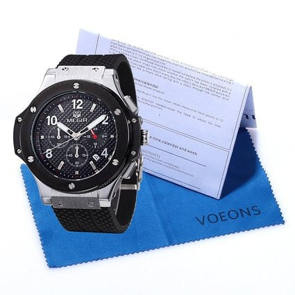 Men's Chronograph 24 Hr Indicator Military Sports Watches 3ATM Waterproof Silver Stainless Steel Mens Watches