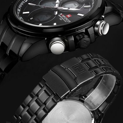 Men's Watches Multi-function Military Sports Watches 3ATM Waterproof Stainless Steel Black White