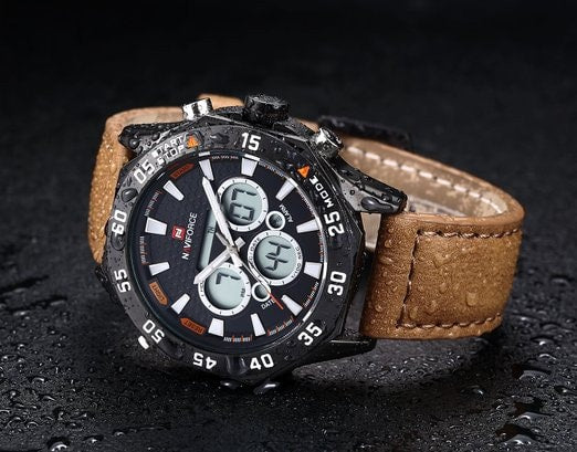 Men's Leather Military Watch