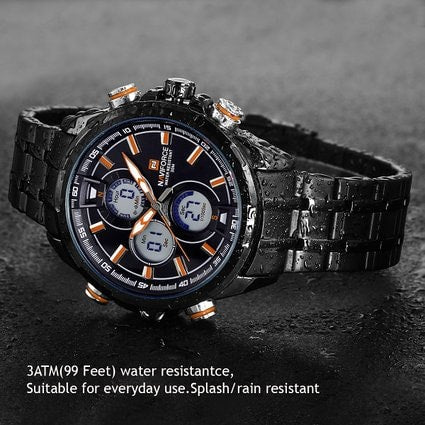 Men's Watches Multi-function Military Sports Casual Watch Stainless Steel Black Orange