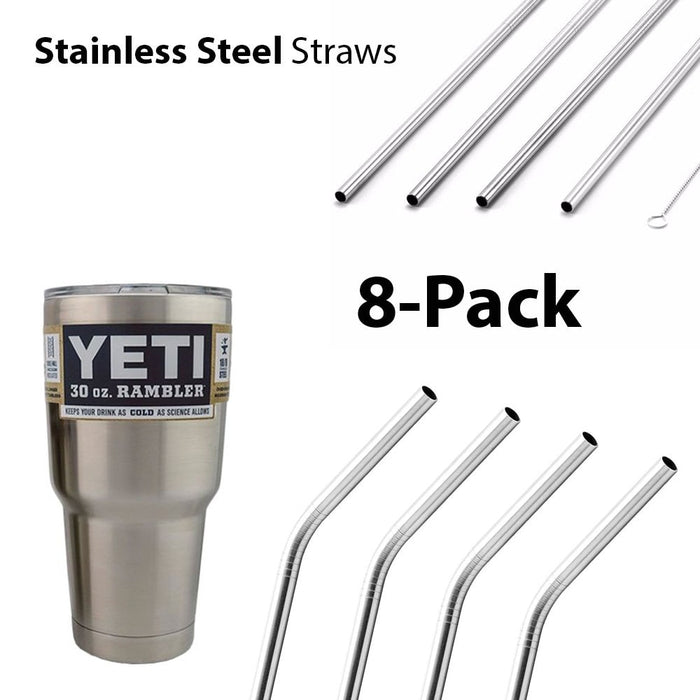 Stainless Steel Straws Yeti Tumbler With Cleaning Brush 8 - Pack