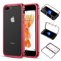 Aluminum Magnetic Snap Case w/Tempered Glass Back Plate - iPhone 7/8 Plus
