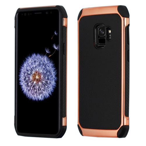 Black/Rose Gold Lychee Grain Astronoot Protector Cover -S9 Plus