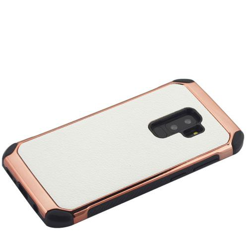 White/Rose Gold Lychee Grain Astronoot Protector Cover  -S9 Plus