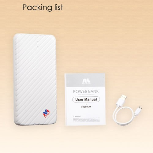 Portable White Li-ion Power Bank (4000 mAh)