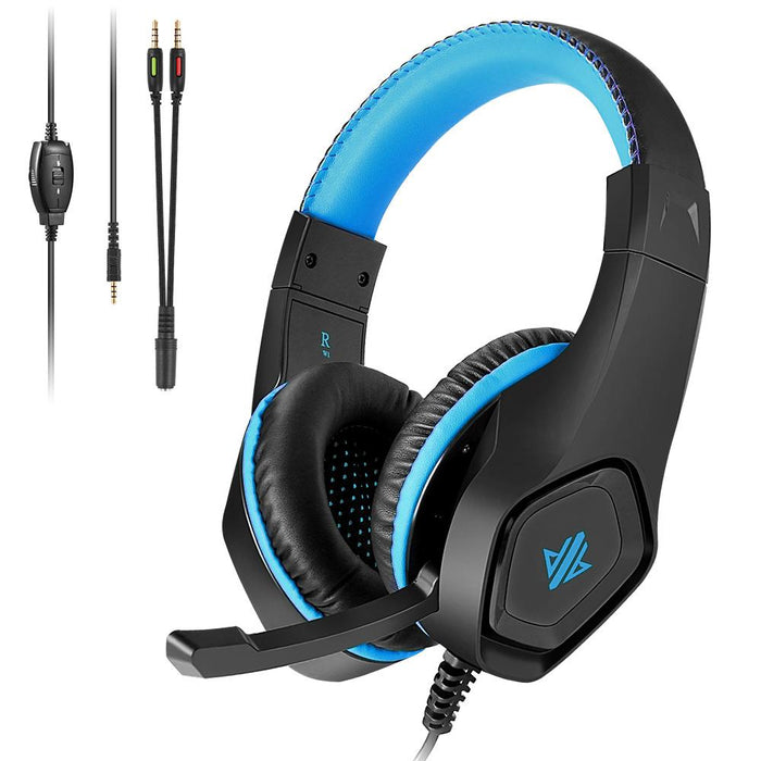 W1 Stereo Gaming Headset w/Low Noise Mic, Bass Surround Sound Headphones -Wired