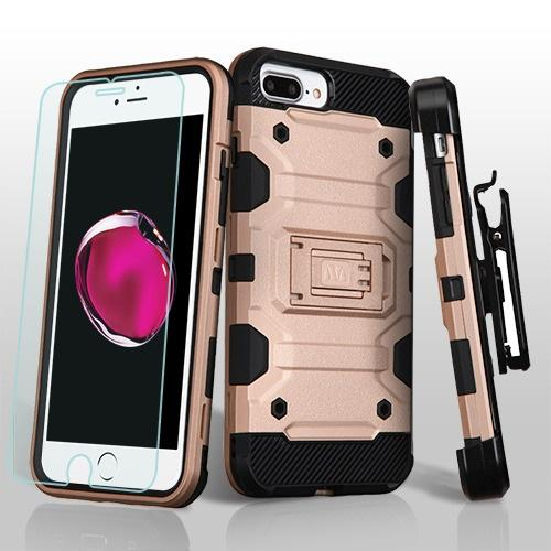 3 in 1 Storm Tank Military Protector Case w/Tempered Glass Screen Protector - iPhone 7/8 Plus
