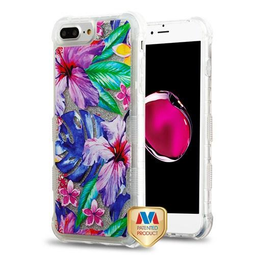 Watercolor Hibiscus TUFF Quicksand Glitter Hybrid Protector Cover -iPhone 7/8
