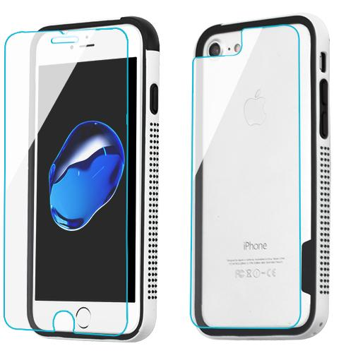 3-in-1 Surround Shield + Tempered Glass Screen Protectors(front + back) -iPhone 7/8 Plus