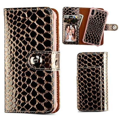 Glossy Croc Skin Magnetic 2-in-1 Wallet -iPhone X