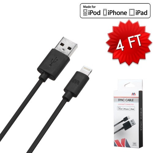 iPhone Black MFi Lightning Sync Cable -4ft