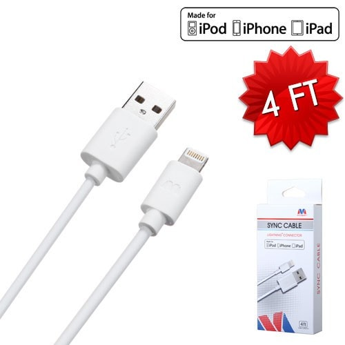 iPhone White MFi Lightning Sync Cable -4ft