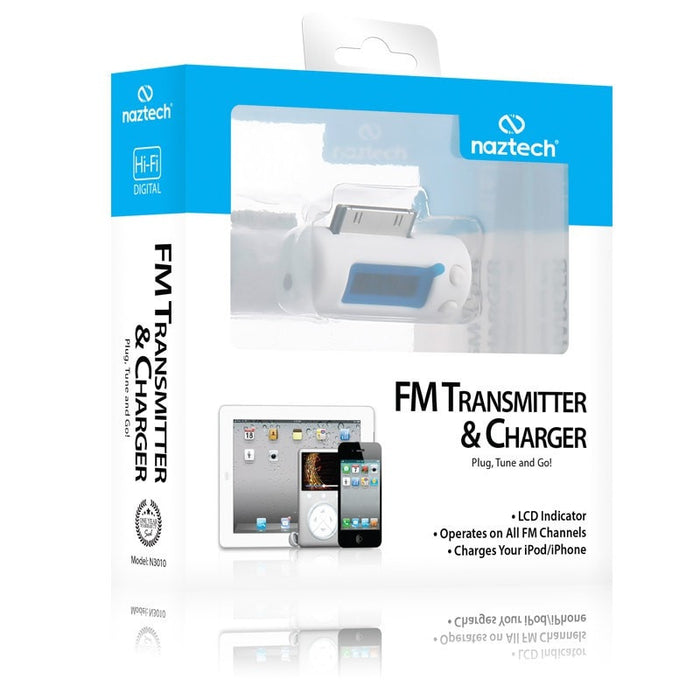 FM Transmitter & Charger for iPhone - iPod - iPad - White