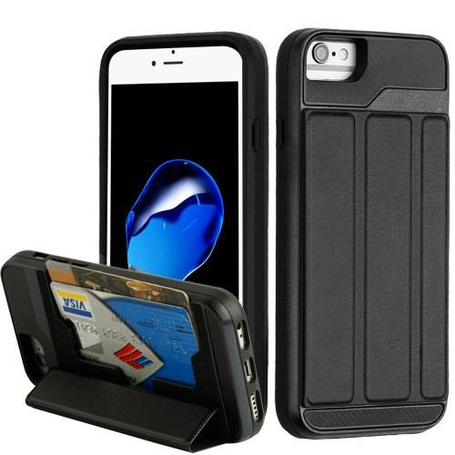 Traveler Wallet Hybrid Cover (with Black Leather Foldable Stand) -iPhone 8