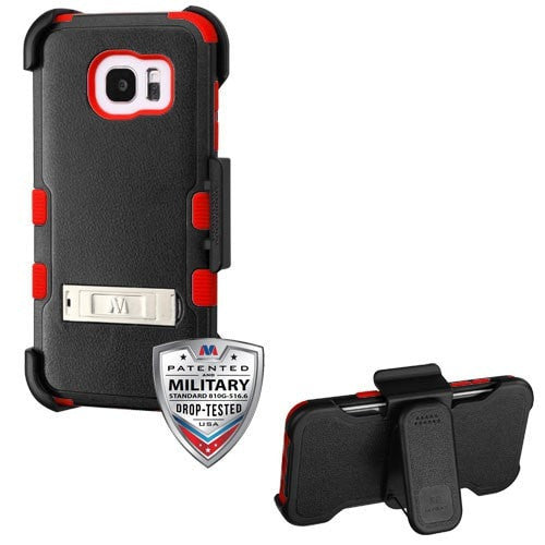 TUFF Hybrid Phone Protector Cover Combo (with Stand & Black Horizontal Holster) [Military-Grade Certified]