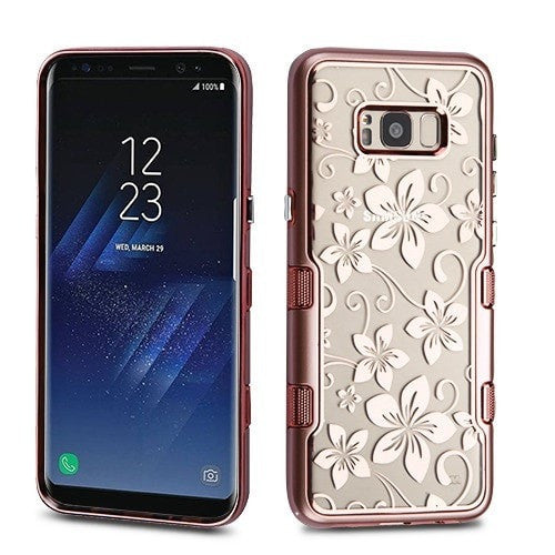Metallic Rose Gold Hibiscus Flower TUFF Panoview Hybrid Protector Cover-S8 PLUS