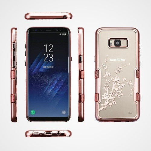 Metallic Rose Gold Spring Flowers TUFF Panoview Hybrid Protector Cover-S8 Plus