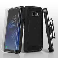3-in-1 Kinetic Hybrid Protector Cover Combo (with Black Holster)(Twin Screen Protectors)-S8 Plus