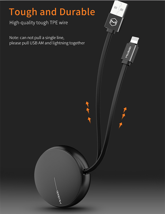 McDODO Roundio - Retractable Lightning Cable for iPhone