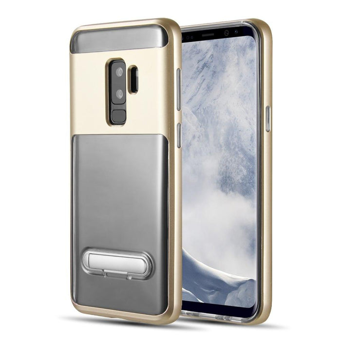 Shock Proof Hybrid Transparent TPU + PC Frame w/Kick Stand | S9 Plus