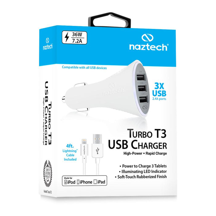 Naztech Turbo T3 7.2A MFI Lightning Vehicle Charger - White